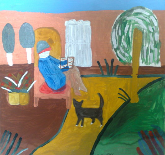 266    814    Man sitting in a garden Heather Rowena Hooper