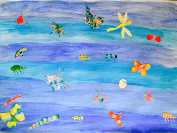 Insects On Blue by Grace Tunnell