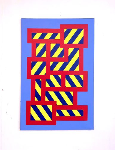 Blue Yellow Stripe Blocks No.2 by Grade One