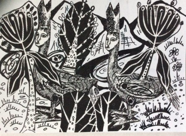 black and white Bishop of Heidlesham series by Three wise men the Kandinsky inspired work Tunisa
