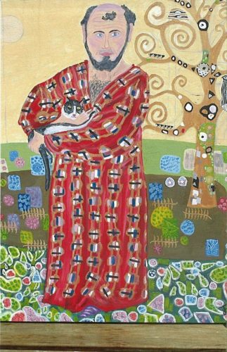Gustav Klimt with cat in front of tree by Thomas France