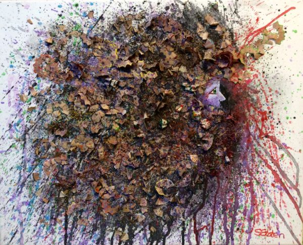 Head Explosion 2  (with pencil sharpenings) by Sharon  Staten