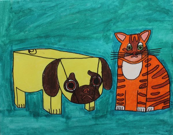 Pug and Orange Cat by Beau Newman