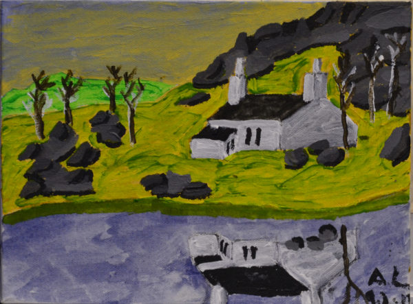 Cottage by a pond by Alan Lesslie