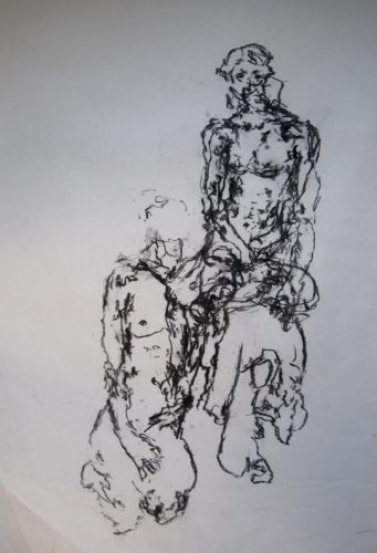 Female Nude- Movement Life Drawing (Woman Reclining onto a Seat) by MM