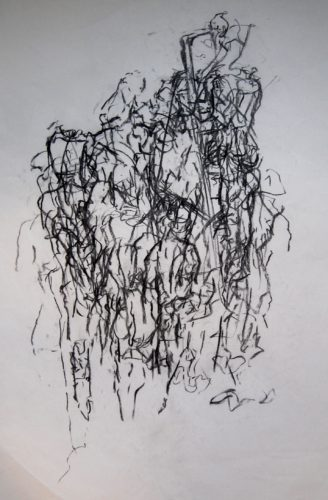 Male Nude- Movement Life Drawing (Man Climbing a Ladder) by MM