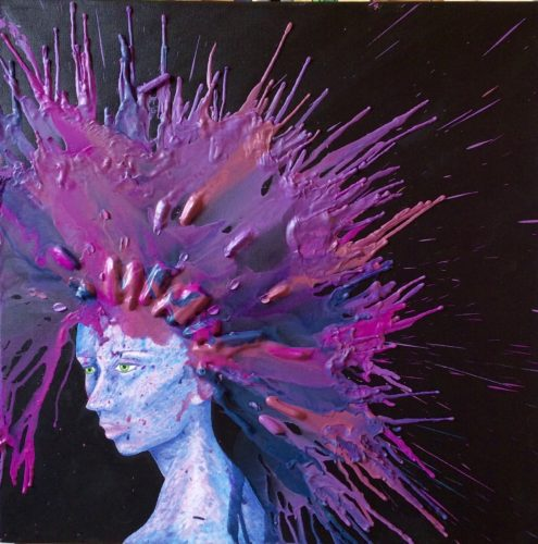 Head Explosion 3 (Melted Wax Crayons) by Sharon  Staten