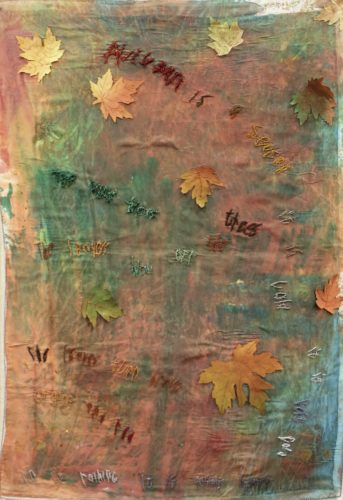 Autumn by bird on card