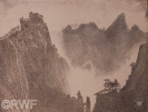 Huangshan Mountain, Anhui Province, China by Abstract featuring Blue