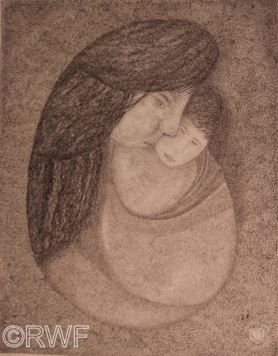 Mother and Child by Nude by a Waterheater