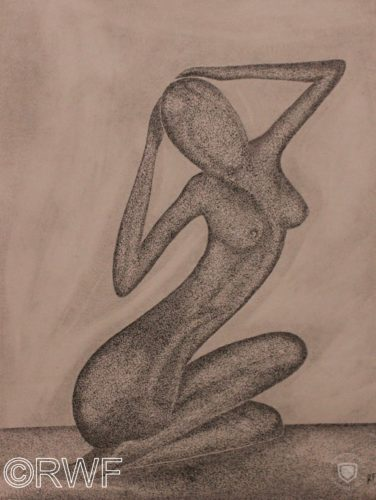 Nude Sculpture by Abstract featuring Blue