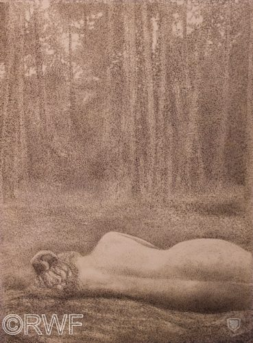 Nude in a Forest Clearing by Valley of Glencoe, Argyll, Scotland