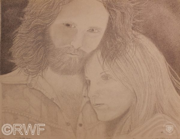 Jim Morrison and Pamela Courson, Bronson Caves, California, 1969 by Abstract featuring Blue