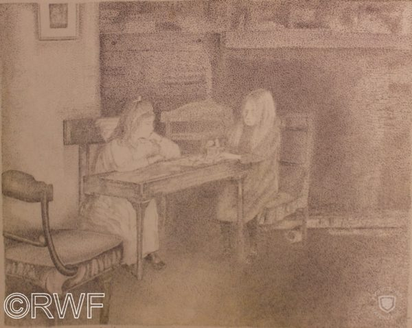 Two Girls playing Cards by Nude by a Waterheater