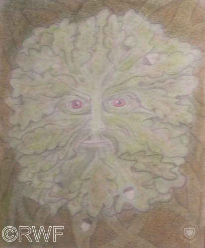 The Green Man by Abstract featuring Blue