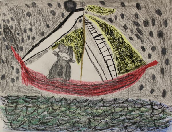 Max on a boat in the night time by Hannah McKenzie