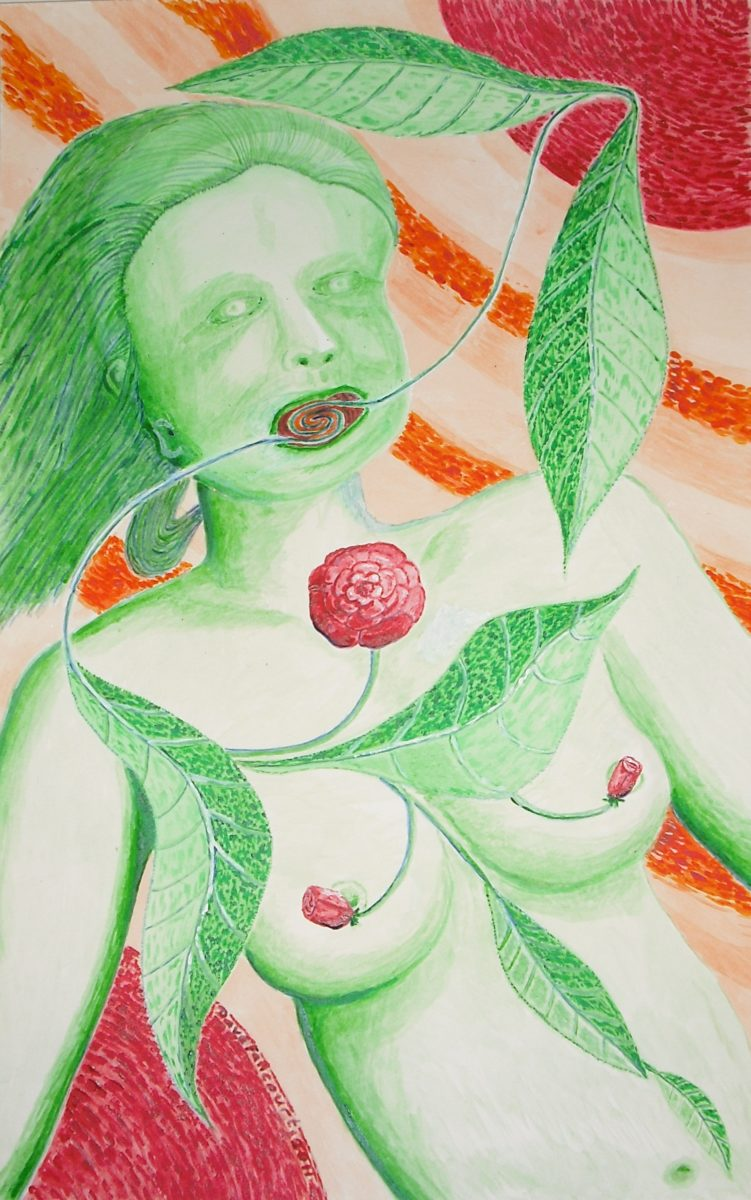 9327 || 2483 || Green Lady With Roses