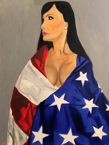 Lisa Ann wrapped in the American flag by Moina
