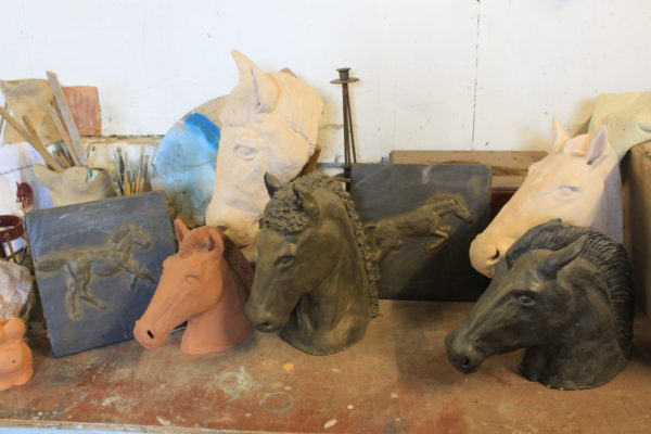 Studio horseheads by Theo Conlin