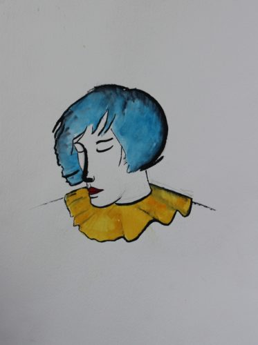 Woman with blue hair by David Stokes