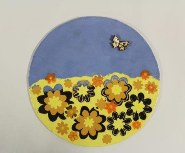 Summer Meadow Circular Tile by Nadia Halliday