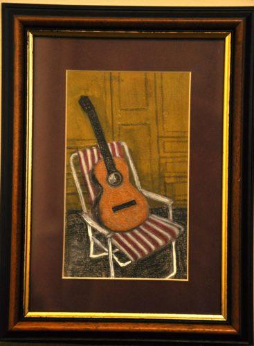 Guitar on Stripey Chair by John Burton