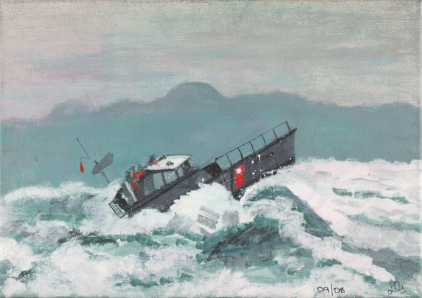 Boat On Rough Water by Lorna Grant