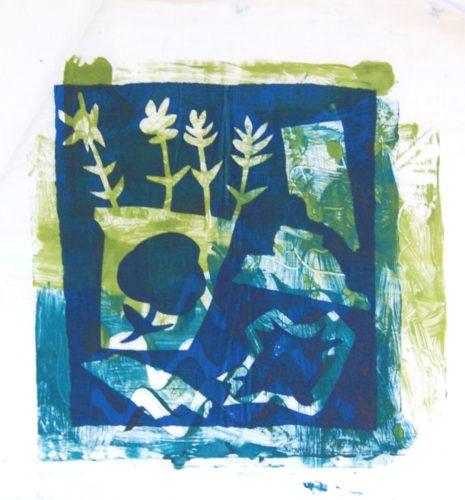 Blue Flower Pot by Margaret Kelly