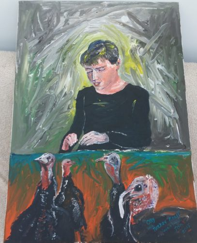 Ollie with Turkeys by Jonathan Kenneth William Pettitt