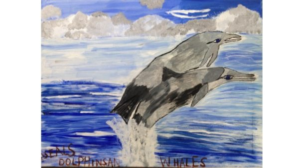 Dolphins jumping out of the sea in Australia by My oil paintings