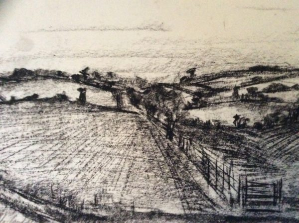 sketch Sussex downs landscapes by Bird song acrylics on canvas