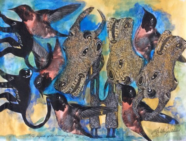 Buffalo series of paintings and the hummingbird by Bird song acrylics on canvas