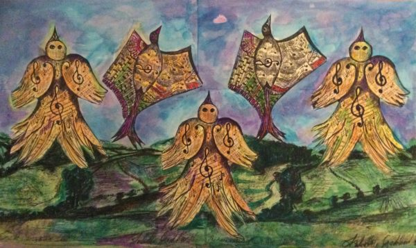 The Larks ascending series by Bird song acrylics on canvas