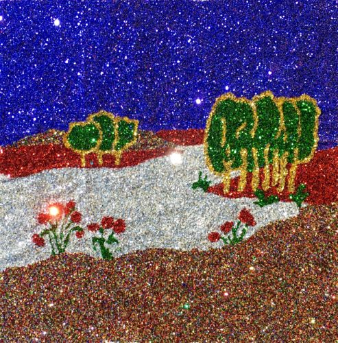 Glitter Landscape and Trees by Poppy Box with Aborgin Type Tradition