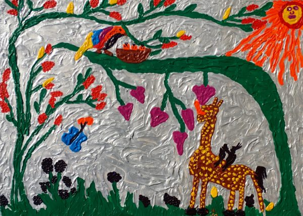 My Family on a Giraffe Planet by Glitter Landscape and Trees