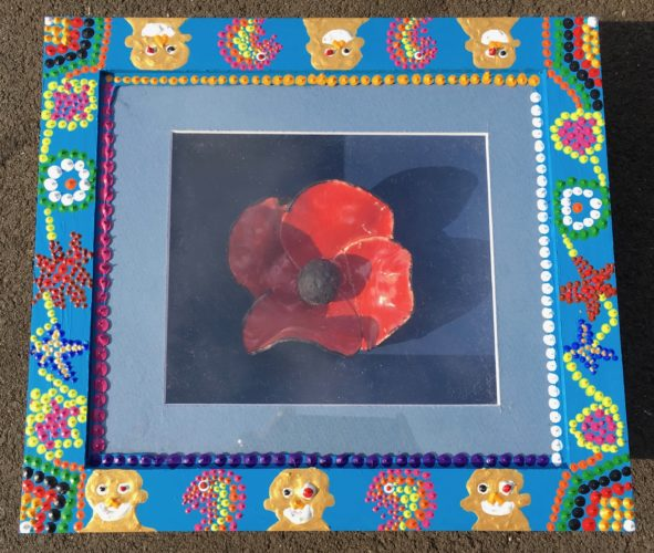 Poppy Box with Aborgin Type Tradition by Glitter Landscape and Trees