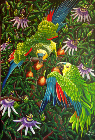 Amazon Parrots Eating Passiflora by Marisa Rehana Mann