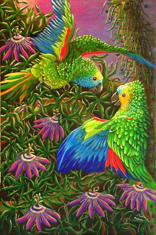 Amazon Parrots in Passiflora by Marisa Rehana Mann