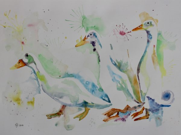 Running Ducks by Frog on timber
