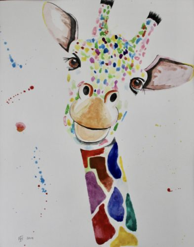 giraffe by Whistling Ear Art