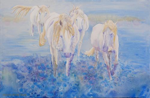 Horses Running Through Sea by Marisa Rehana Mann
