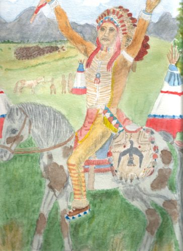 indian on a horse by Linda Slater