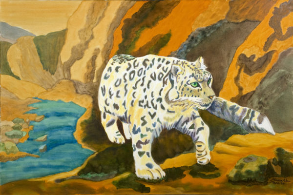 Pacing Snow Leopard by Marisa Rehana Mann