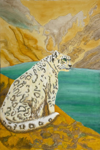 Sitting Snow Leopard by Marisa Rehana Mann