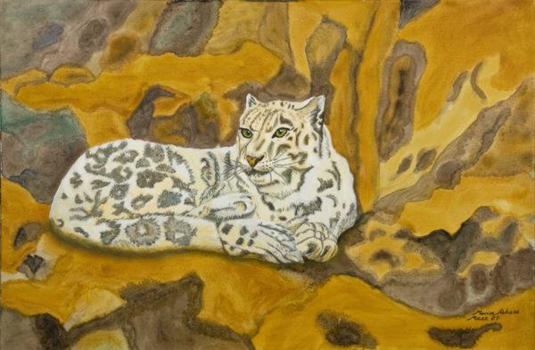 Snow Leopard at Rest by Marisa Rehana Mann