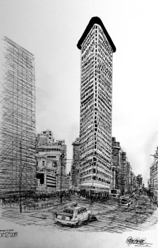 Flat Iron Building, New York by Brighton Pavillion [Black and White Version]