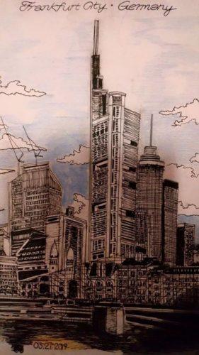 Frankfurt City Skyline [Colour Version] by Brighton Pavillion [Black and White Version]