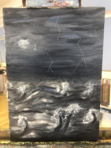 stomy night sea by Ayesha