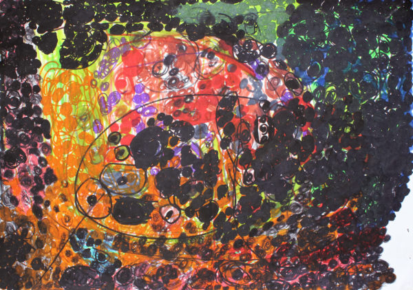 Untitled 1 (Black, red, orange) by Untitled 2 (Black and blue)