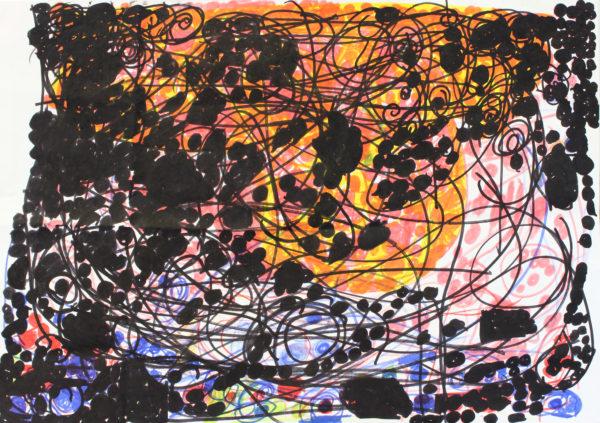Untitled 3 (Black, pink, orange)